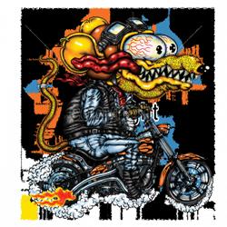 Bikers-Custom : Débardeur homme YELLOW MONSTER ORANGE CYCLE