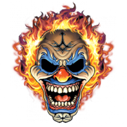 Bikers-Custom : Sweat biker THE CLOWN FLAMING