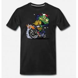 Bikers-Custom : T shirt biker green monster cycle