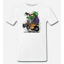 Bikers-Custom : T shirt biker green monster yellow hot rod