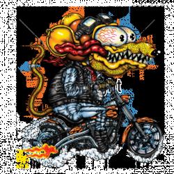Bikers-Custom : Sweat zippé YELLOW MONSTER ORANGE CYCLE.