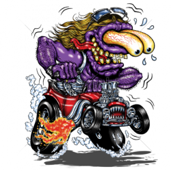 T shirt biker purple monster red hot rod