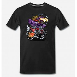 Bikers-Custom : T shirt biker purple monster red hot rod