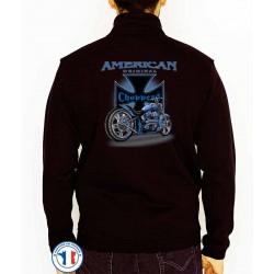 Bikers-Custom : Sweat zippé AMERICAN ORIGINAL