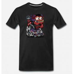 Bikers-Custom : T shirt biker red monster purple hot rod