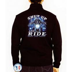 Bikers-Custom : Sweat zippé SHUT UP AND RIDE