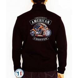 Bikers-Custom : Sweat zippé AMERICAN CHOPPER