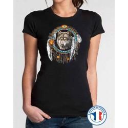 Bikers-Custom : T shirt femme dreamcatcher loup