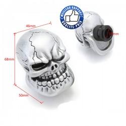 Bikers-Custom : Pommeau de vitesses tuning skull dongs argent