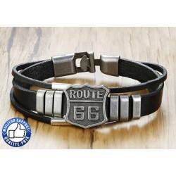 Bracelet cuir route 66