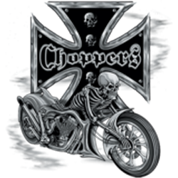 Bikers-Custom : T shirt biker bike and skull