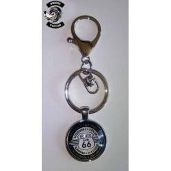 Porte clés route 66 blanc