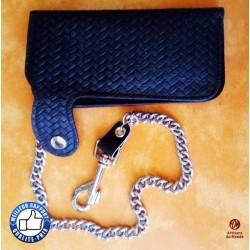 Portefeuille cuir noir tressé, grand format