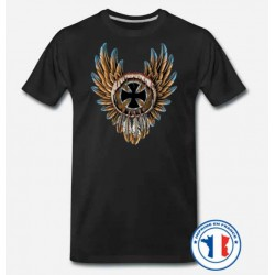Bikers-Custom : T shirt biker dreamcatcher iron cross