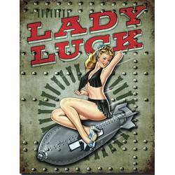 Plaque métal vintage, décorative lady luck