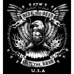 Bikers-Custom : T shirt biker ride the best ftw