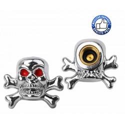 Bouchons de valves tête de mort pirate