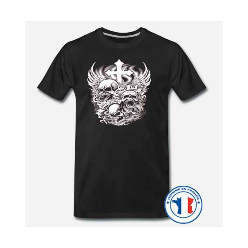 Bikers-Custom : T shirt biker dead cross