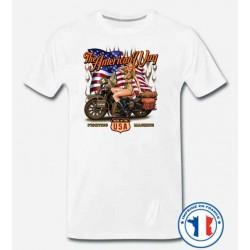Bikers-Custom : T shirt biker american way babe