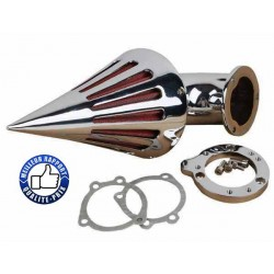 Bikers-Custom : Filtre a air spike noir ou chrome pour Harley carburateur