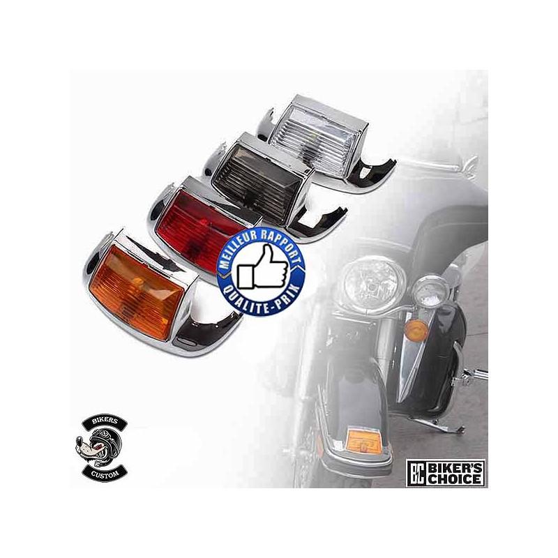 Bikers-Custom : Enjoliveur de garde boue avant avec éclairage pour Harley de 1986 à 2009