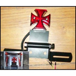 Feux arrière croix de malte avec support de plaque
