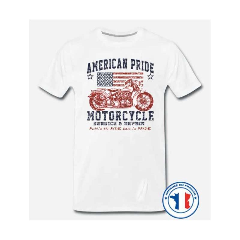 Bikers-Custom : T shirt biker american pride bike