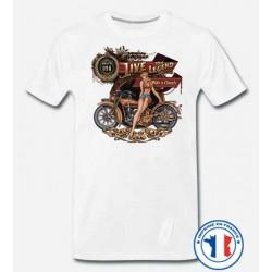 Bikers-Custom : T shirt biker live the legend babe