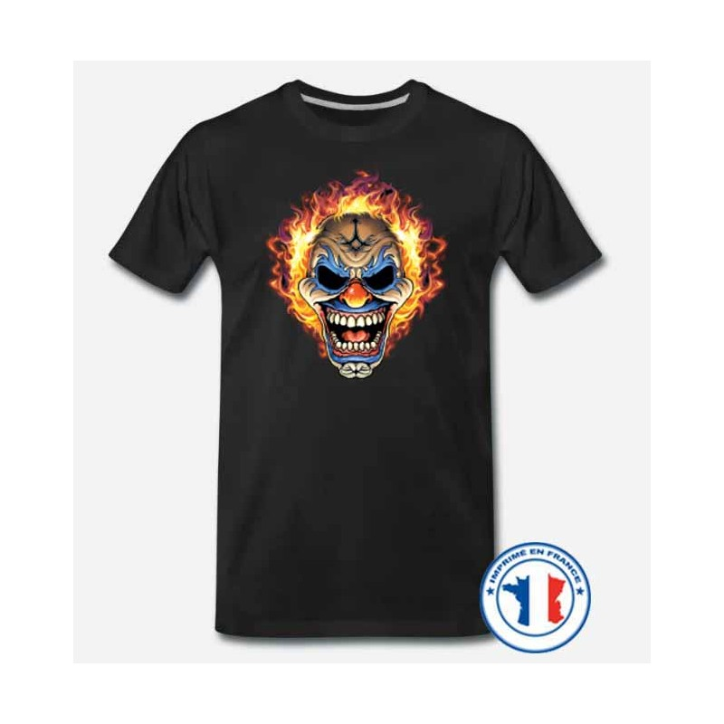 Bikers-Custom : T shirt biker the clown flaming