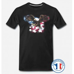 Bikers-Custom : T shirt biker flag eagle